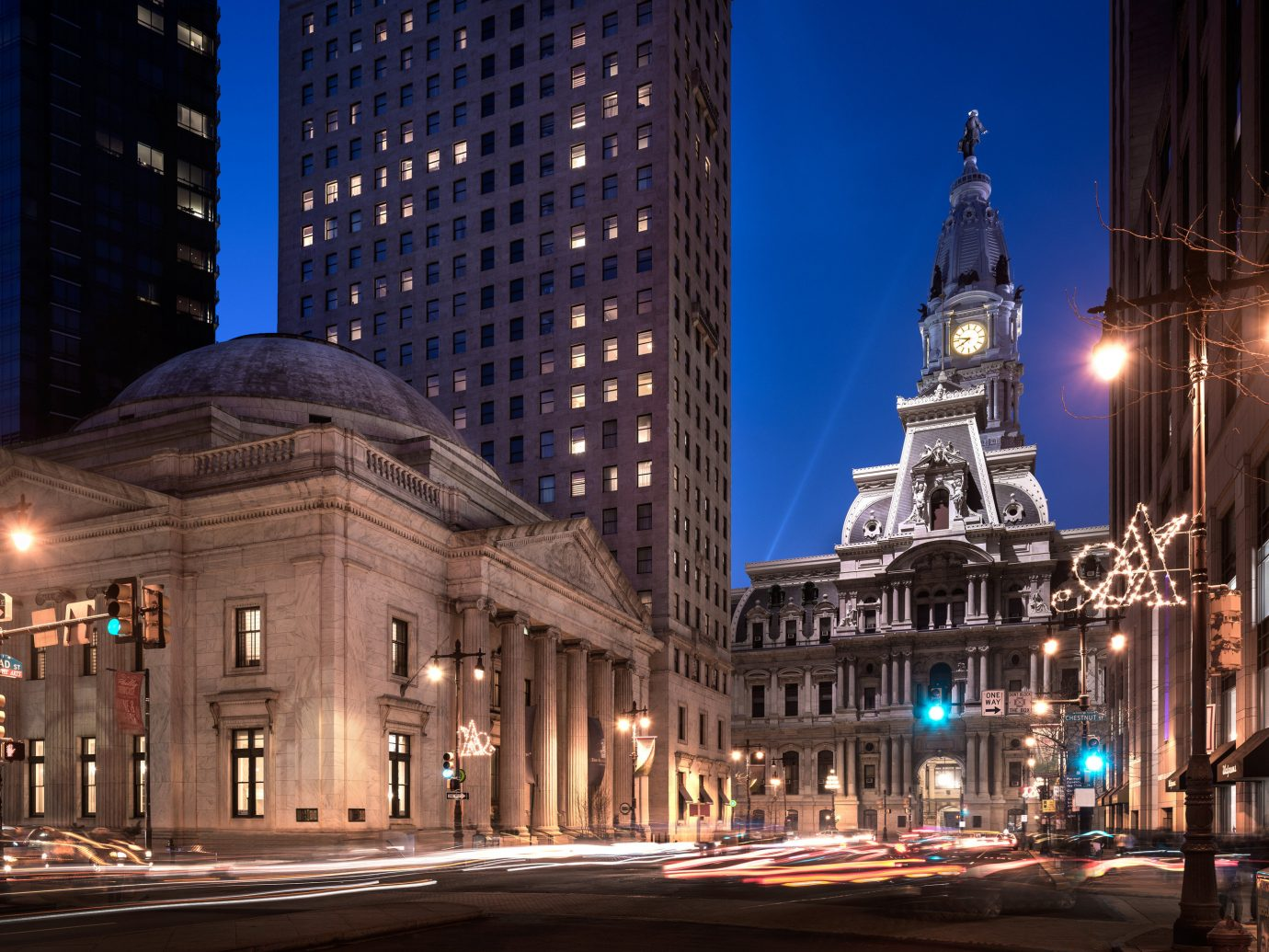 Boutique Hotels Hotels Philadelphia metropolitan area City metropolis landmark cityscape urban area skyscraper night Downtown infrastructure building Town sky Architecture light tourist attraction daytime lighting tower block tower town square evening street plaza skyline facade tree traffic