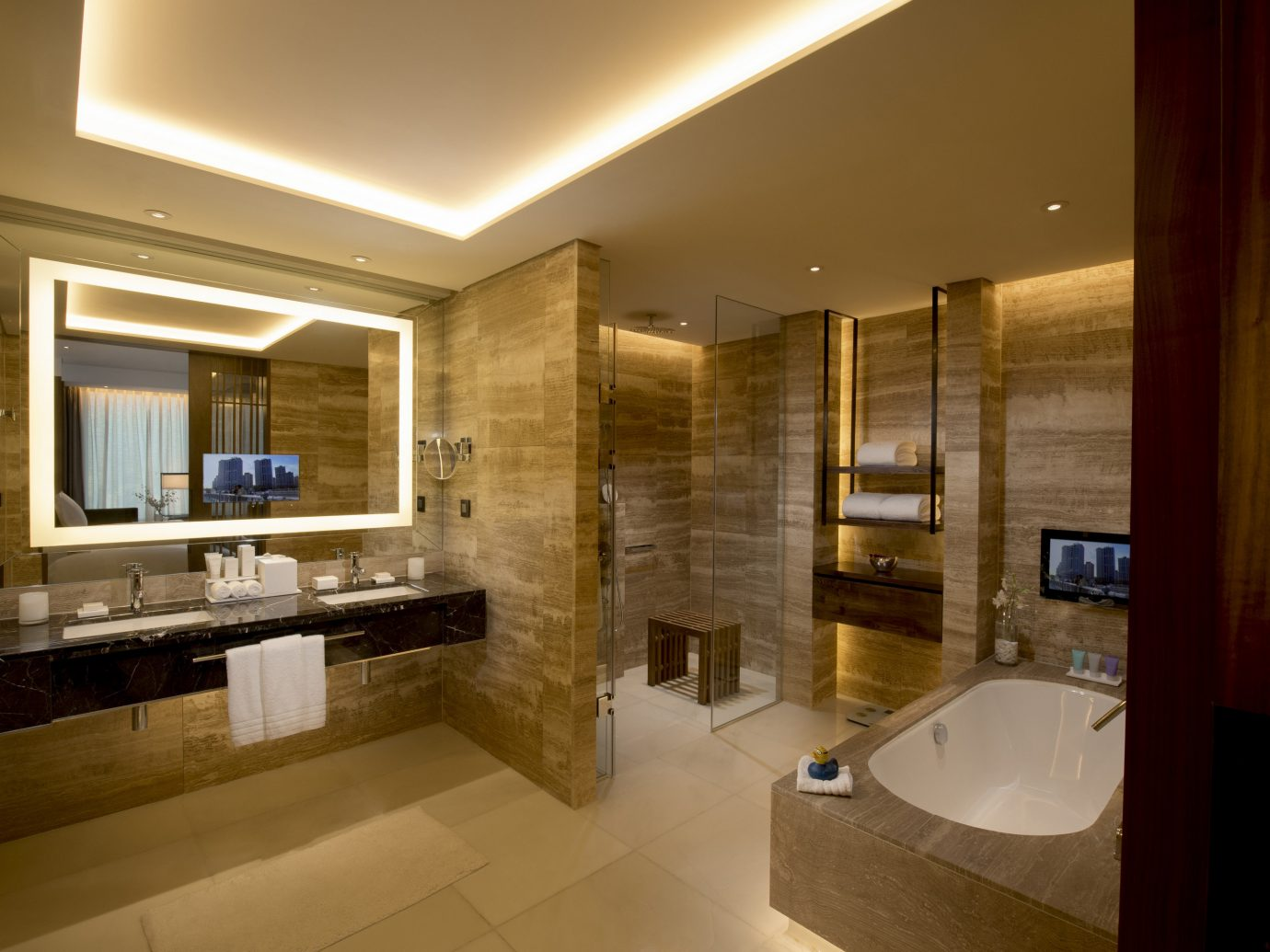 Hotels Luxury Travel indoor wall bathroom ceiling floor mirror sink room interior design Architecture window estate real estate counter home interior designer Suite flooring Lobby tile tub Bath