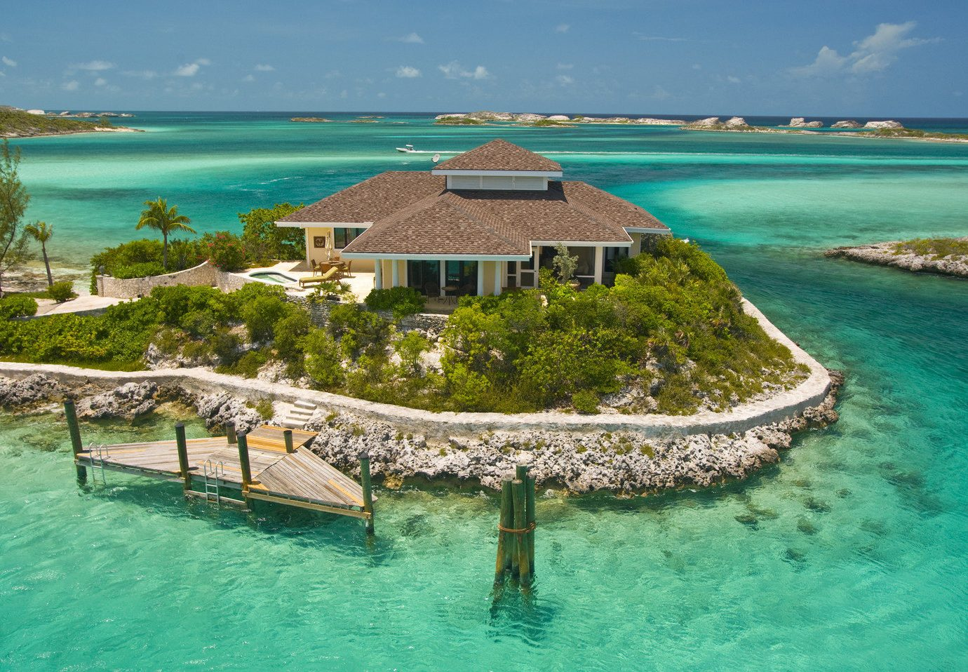 Aerial view of Fowl Cay Resort