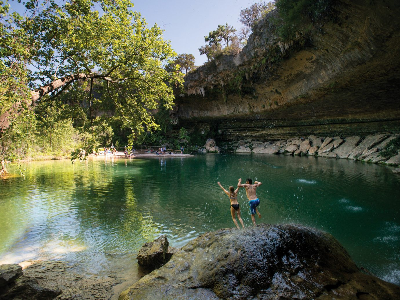 People jumping into a springs in Austin, TX