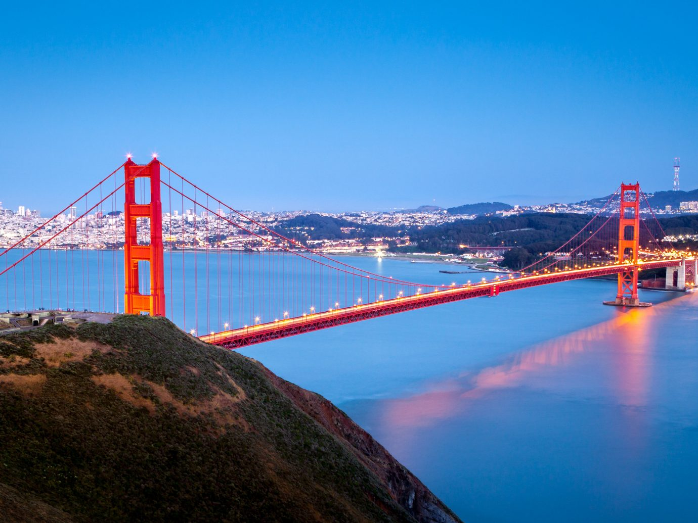 Trip Ideas water sky outdoor bridge River mountain Sea reflection Coast Ocean dusk bay Lake tower crane close distance