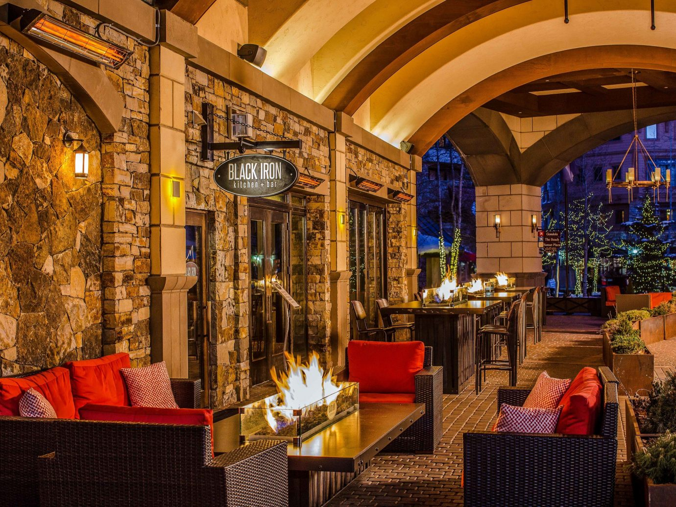 indoor restaurant red interior design lighting Lobby tavern evening night furniture