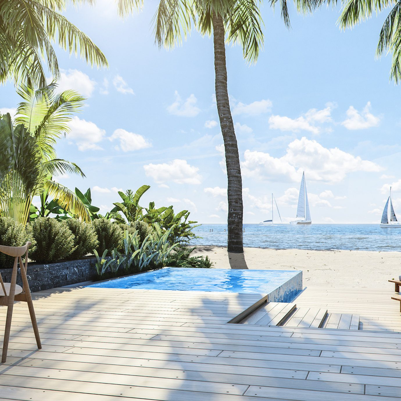 Hotels Trip Ideas Winter tree outdoor sky leisure chair Beach palm Resort property vacation swimming pool estate caribbean arecales plant home Villa walkway Sea lawn Pool bay lined shade shore sunny furniture sandy several