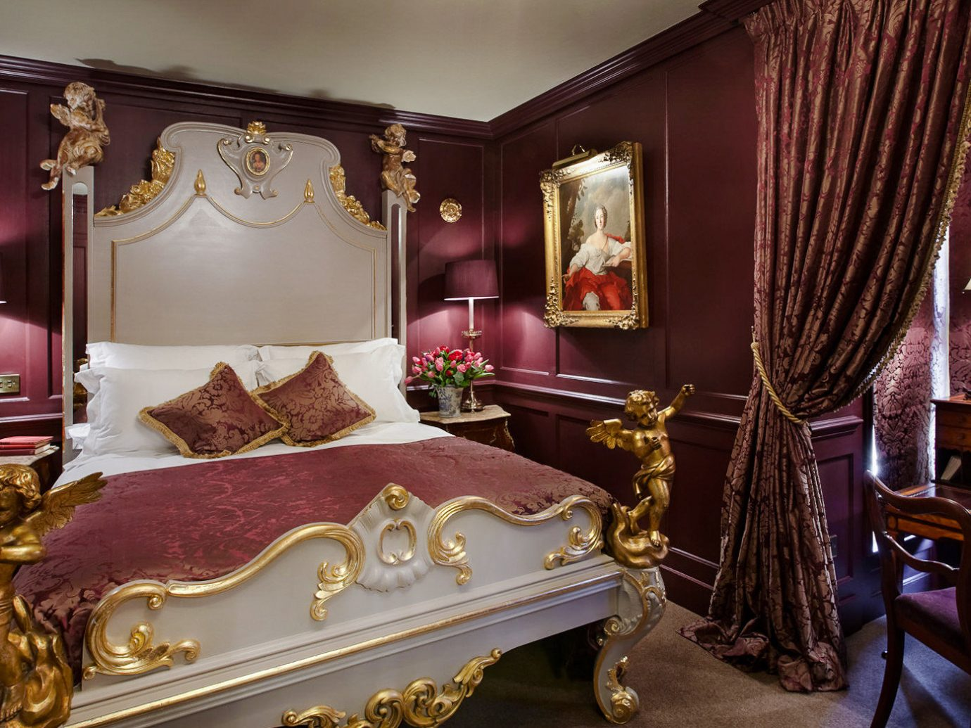 Boutique Hotels London Romantic Hotels room indoor furniture Suite interior design Bedroom home bed Classic estate bed frame bed sheet decorated several