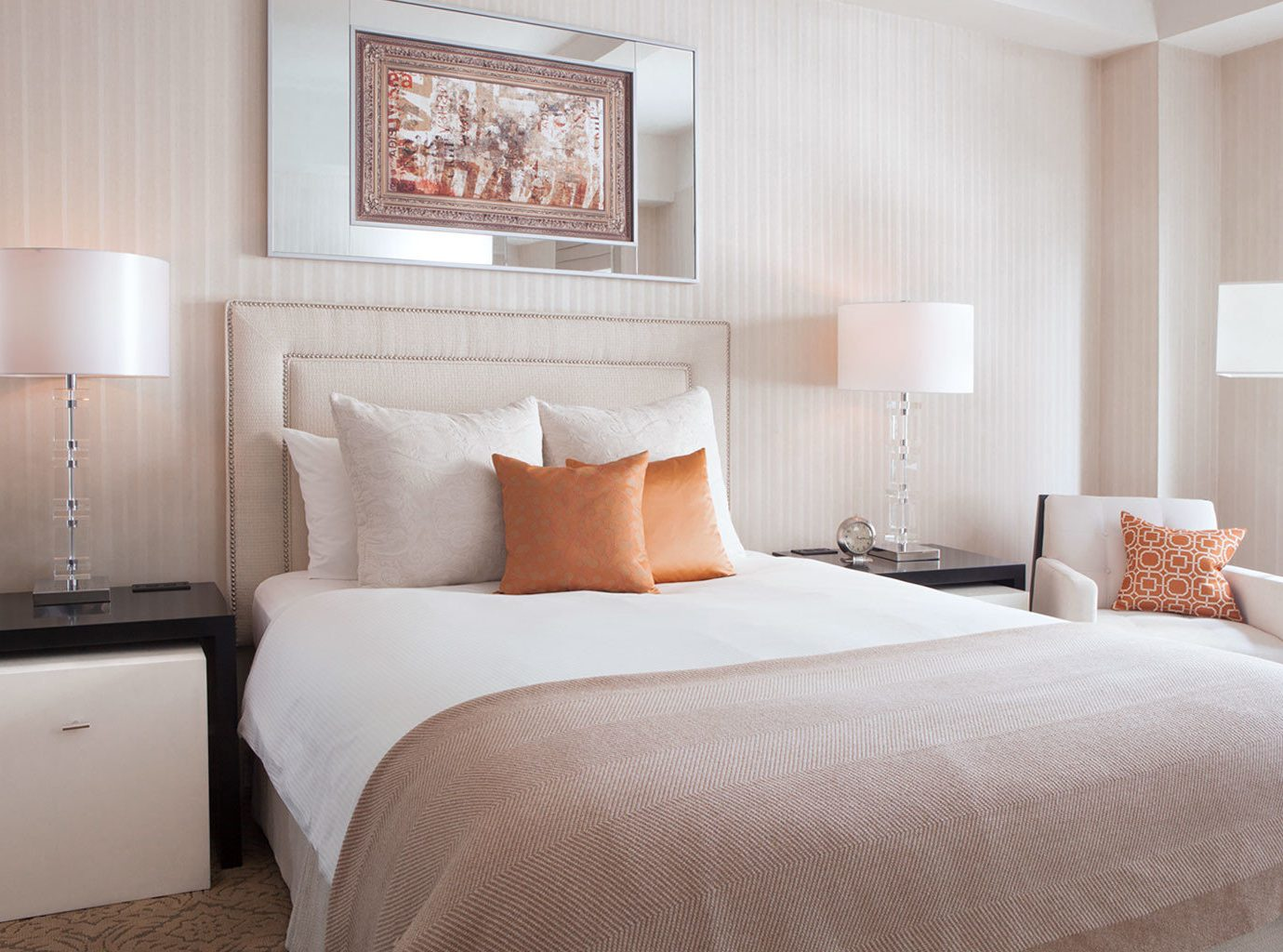 Bedroom Boutique City Modern Offbeat bed indoor wall hotel sofa room property Suite scene interior design furniture bed sheet floor orange bed frame pillow cottage duvet cover lamp