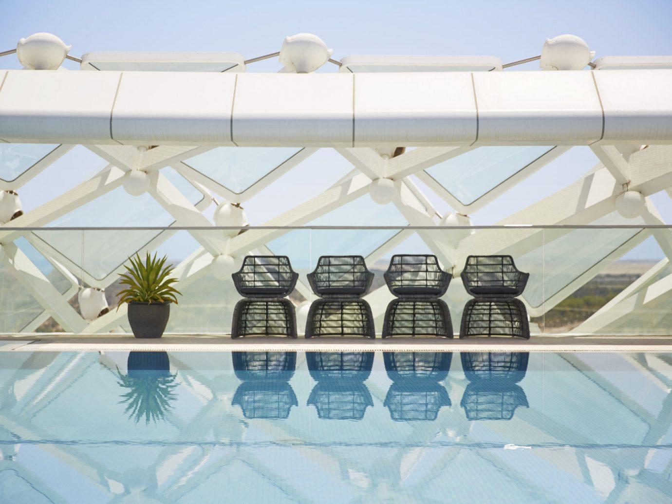 Hotels indoor daylighting lighting baluster ceiling Design glass furniture several