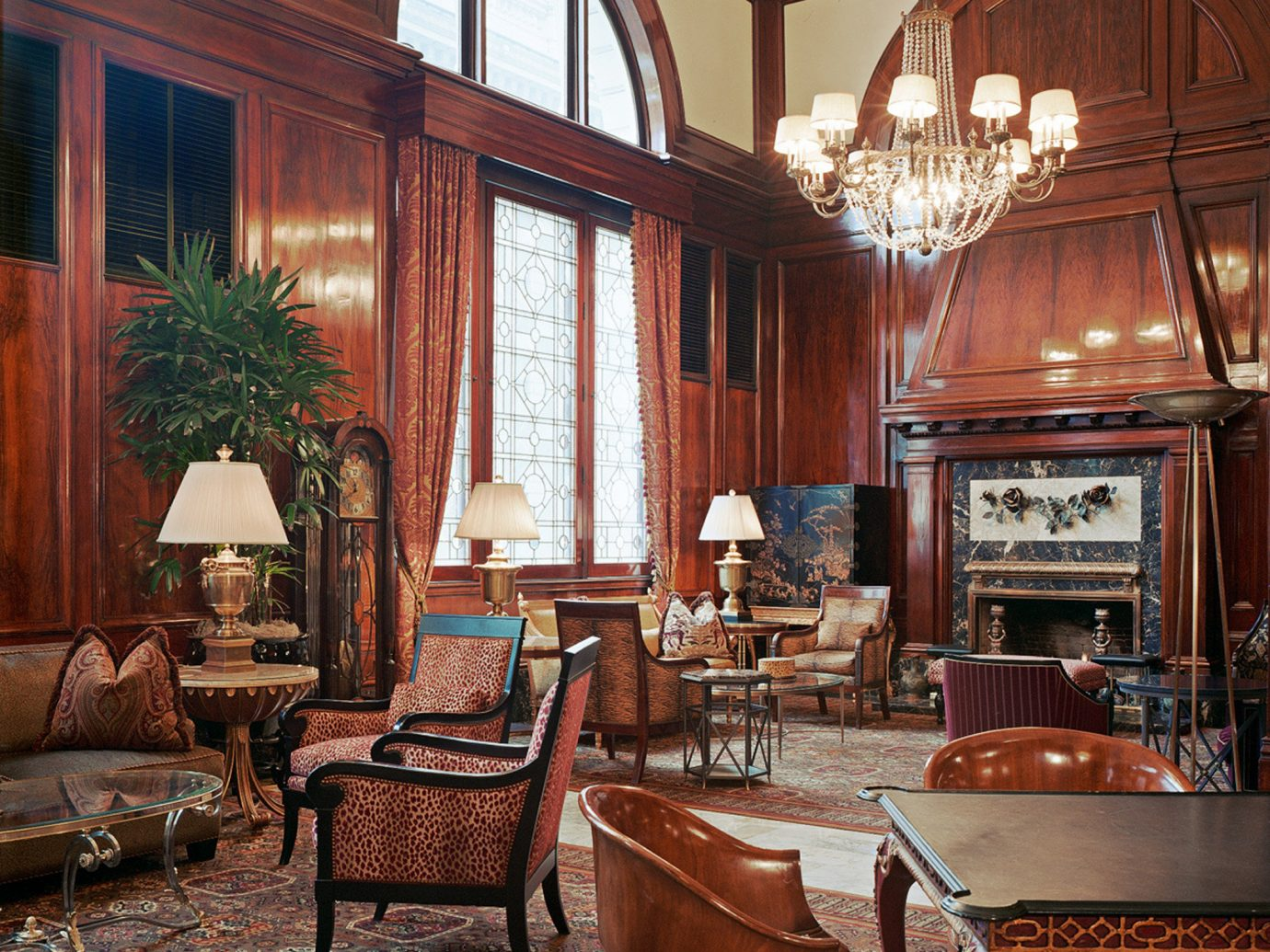 City Elegant Historic Hotels Lobby Lounge indoor room chair dining room floor Living property estate window home living room interior design furniture mansion Fireplace wood farmhouse old ceiling palace decorated several dining table
