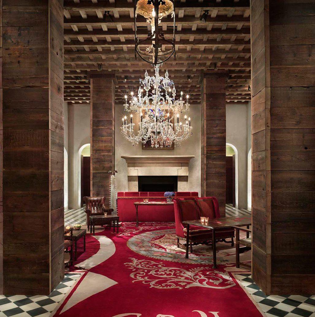 City Fireplace Hotels Lobby Luxury Luxury Travel Romantic Hotels floor red room indoor interior design rug lighting living room estate Design ceiling flooring furniture