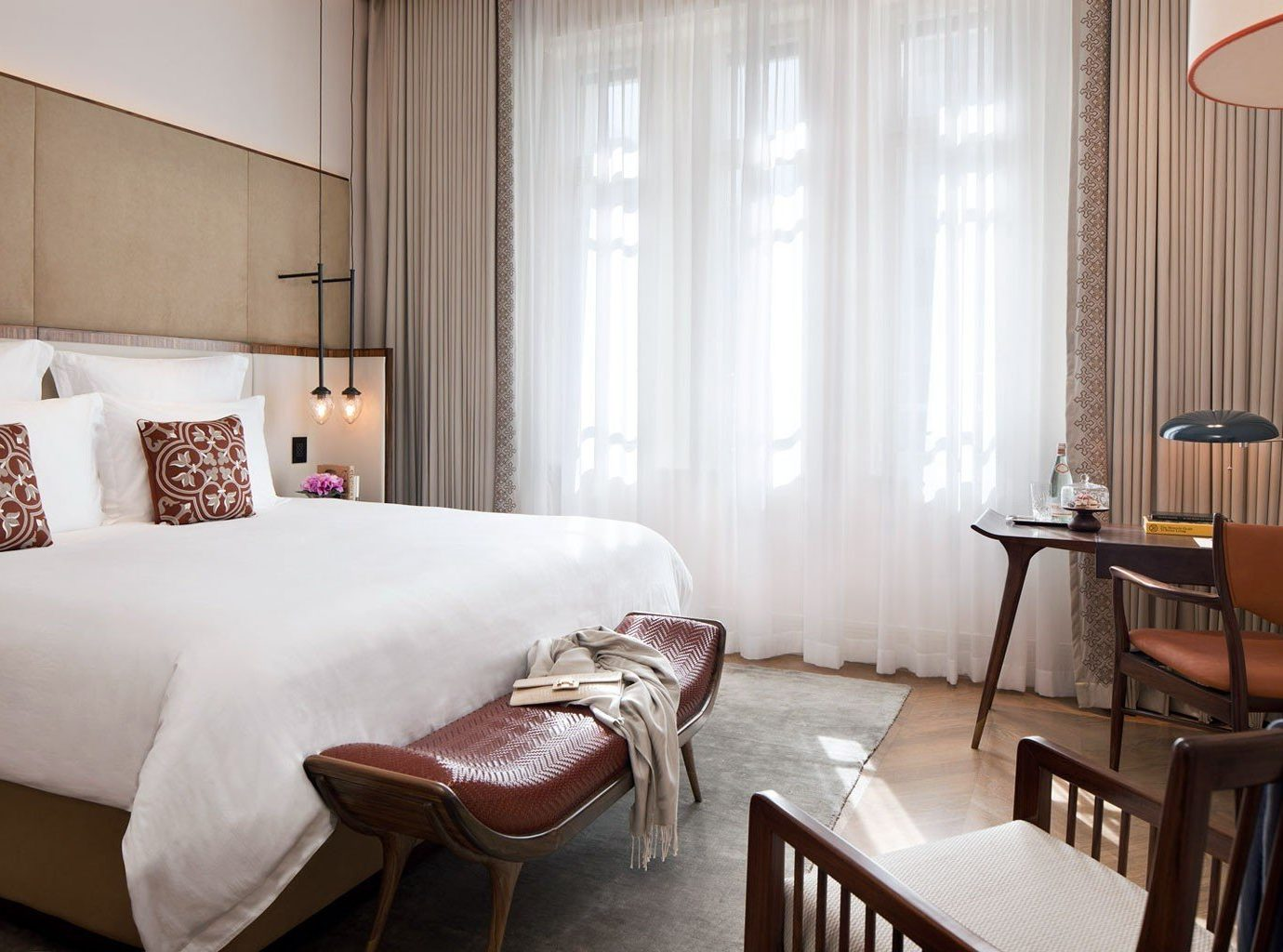 Hotels indoor room floor wall table window chair property hotel Suite interior design furniture cottage real estate Bedroom apartment decorated