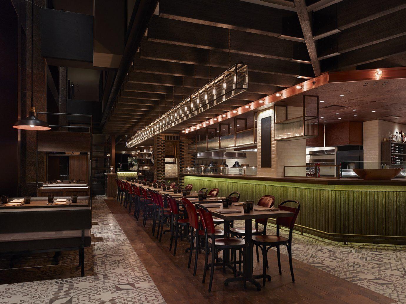 Food + Drink indoor ceiling building restaurant interior design Bar area furniture several dining room