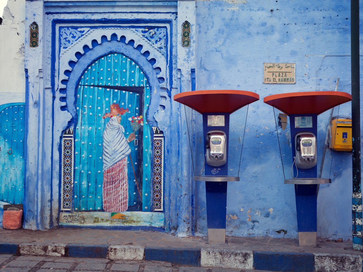 Offbeat color blue outdoor urban area wall Architecture art facade ancient history window temple shrine