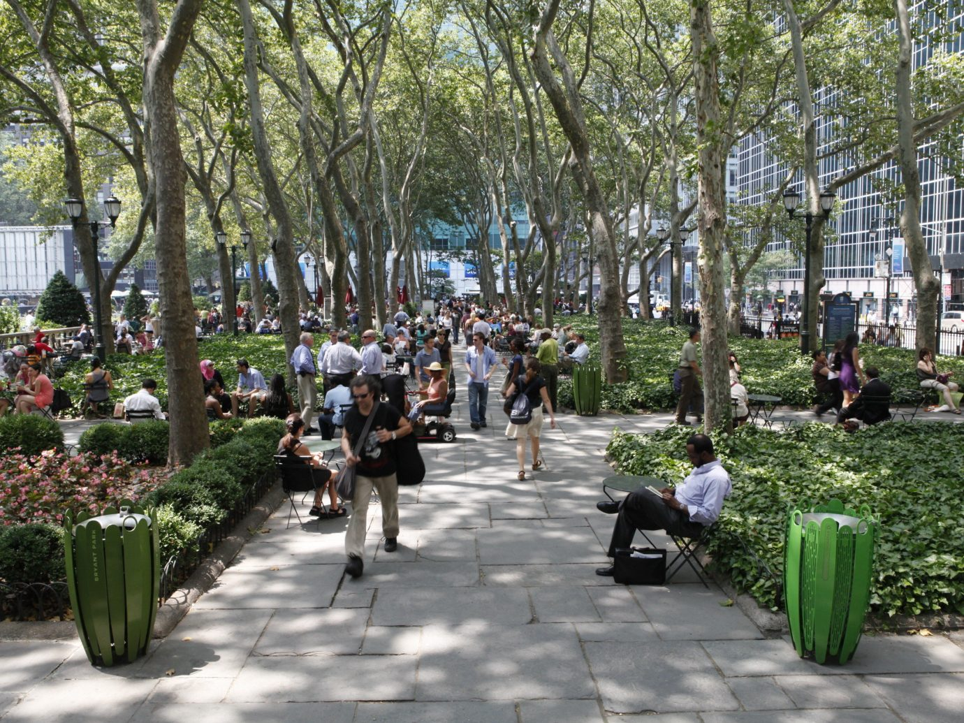 Budget tree outdoor neighbourhood City park public space plaza plant spring Garden town square pedestrian flower tours people campus day
