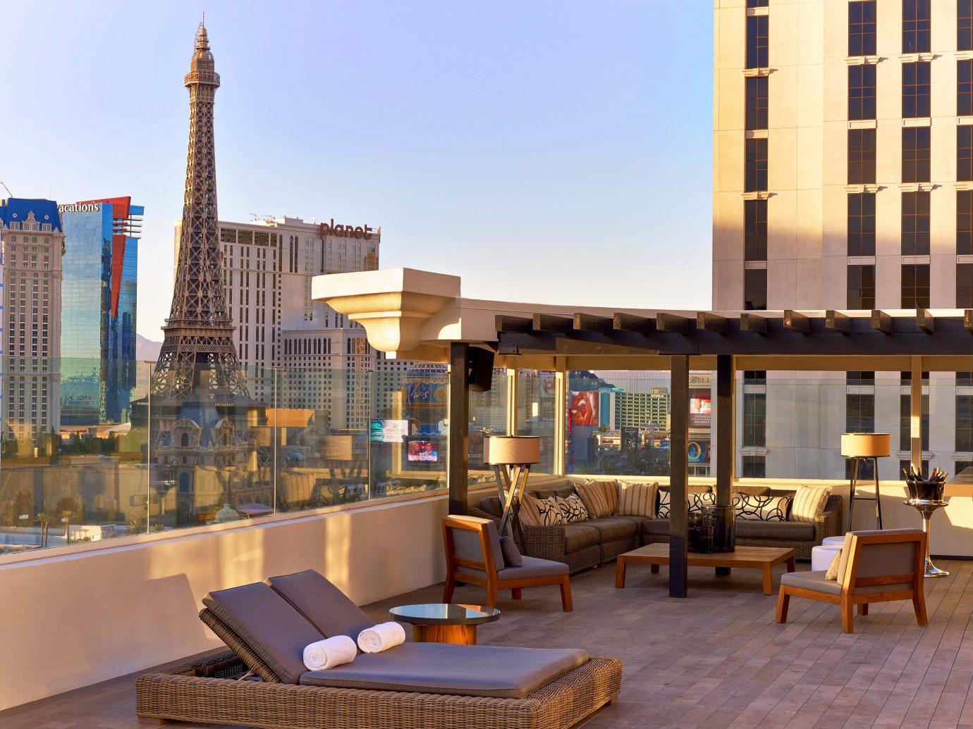 Large balcony at The Nobu Villa suite at the Nobu Hotel in Las Vegas