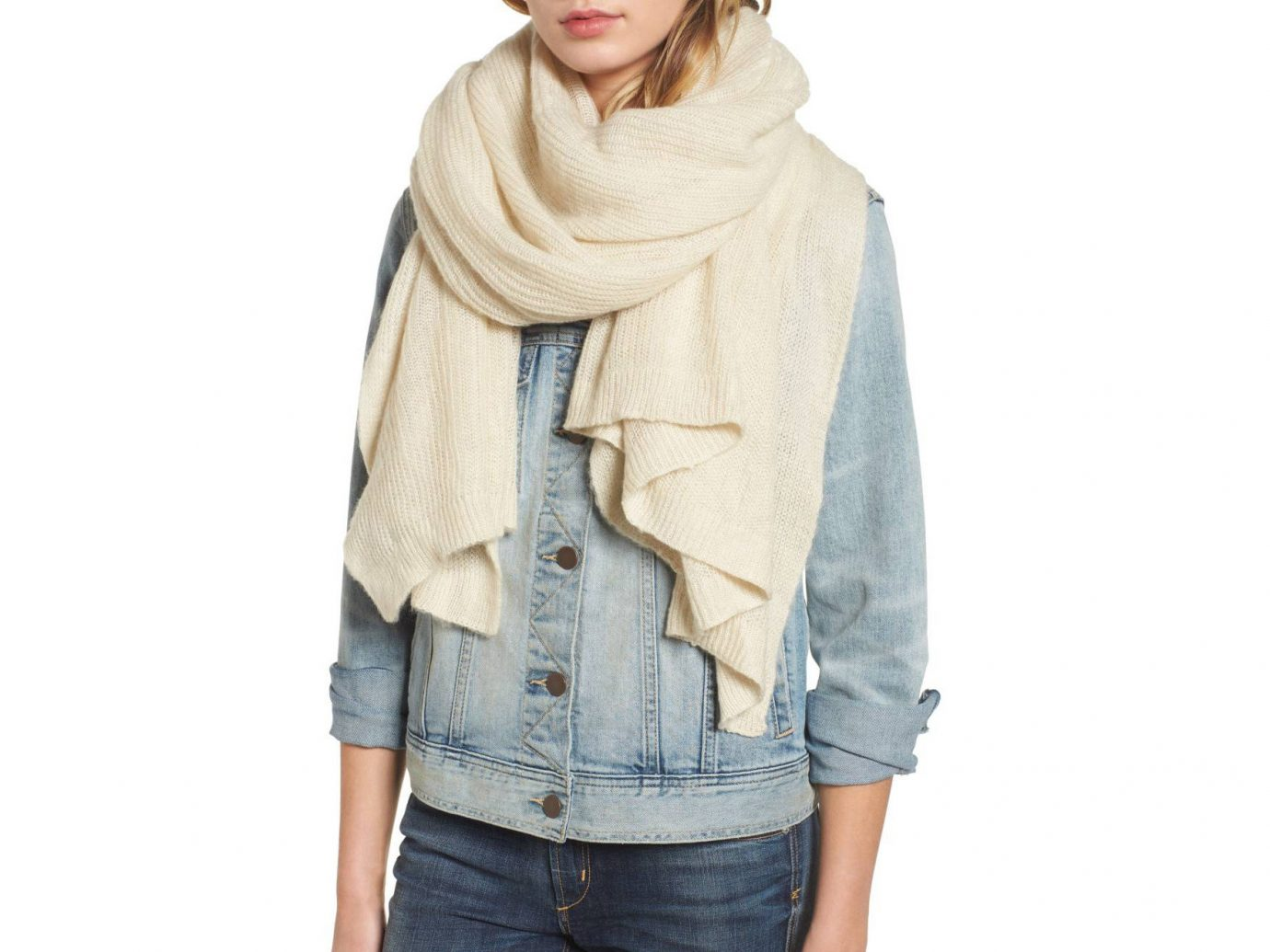 Travel Shop person clothing wearing stole scarf jacket beige neck posing