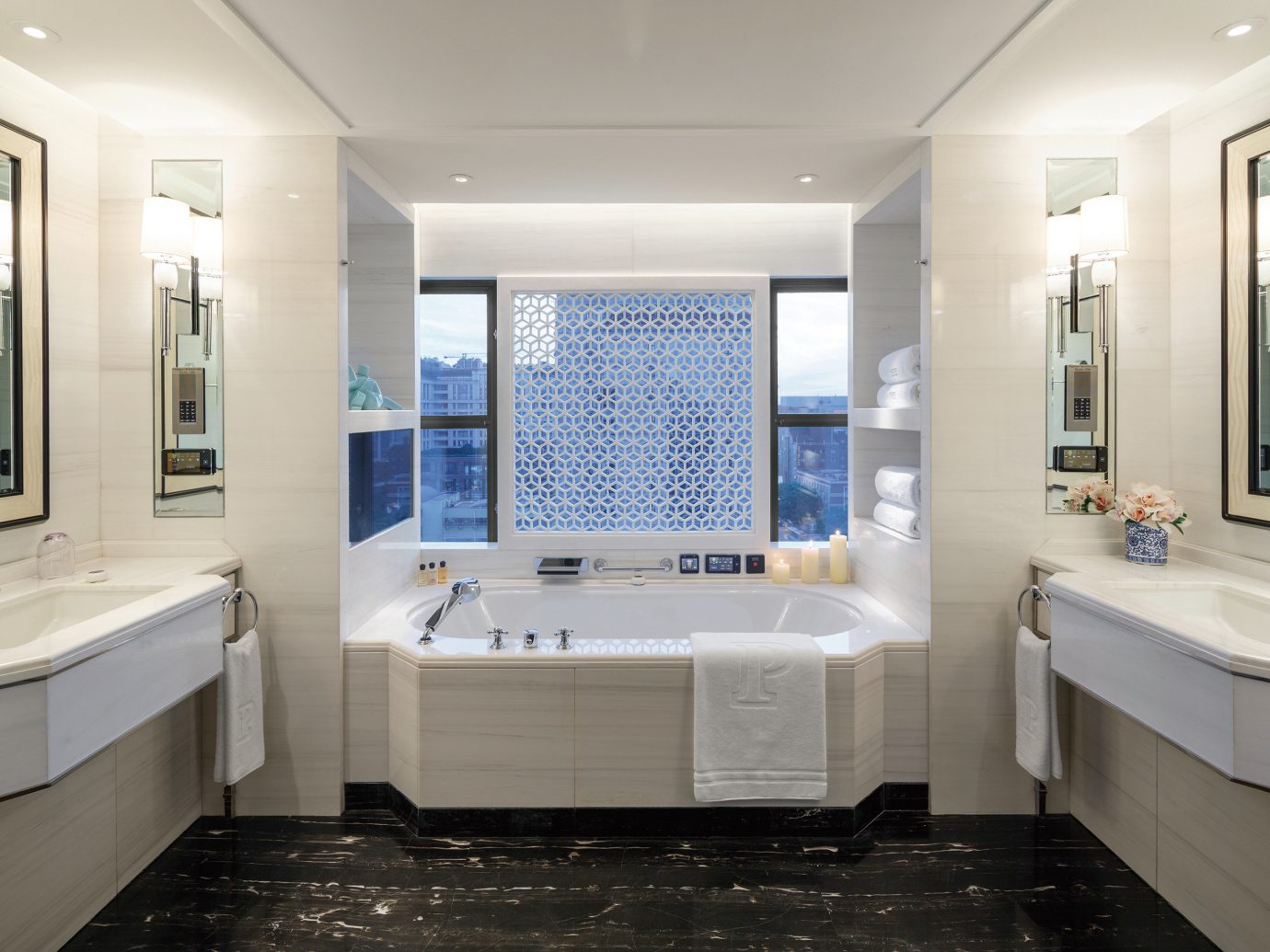 Trip Ideas indoor floor wall ceiling bathroom window room property sink home estate interior design real estate bathtub tub Design Suite plumbing fixture apartment tile Bath Modern tiled