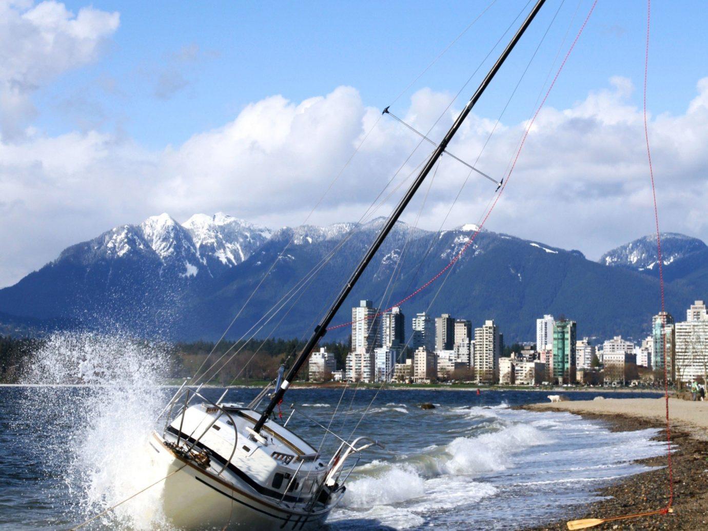 Offbeat outdoor sky water Boat vehicle Sea Coast sailboat sailing sail boating watercraft mast bay wind day