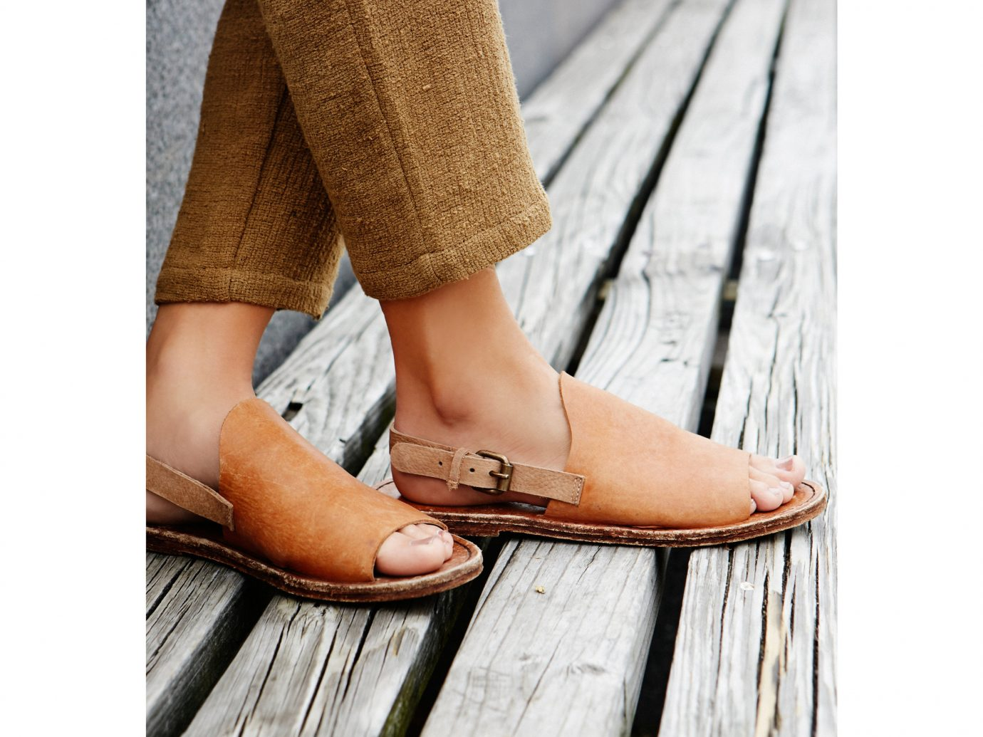 Style + Design wooden footwear person shoe outdoor wood spring leg leather shoes human body