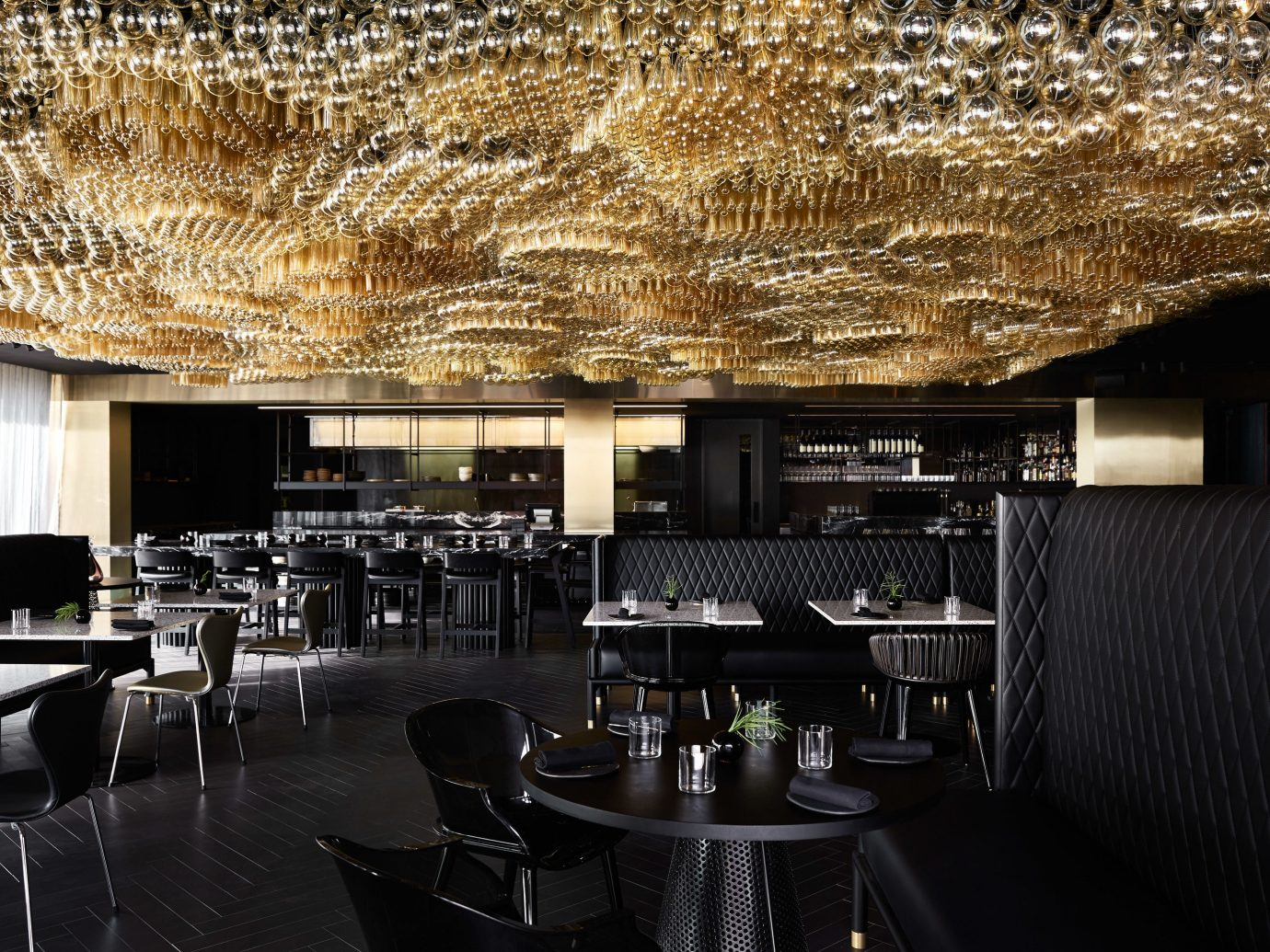 Food + Drink Hotels indoor restaurant interior design ceiling Bar furniture area several dining room
