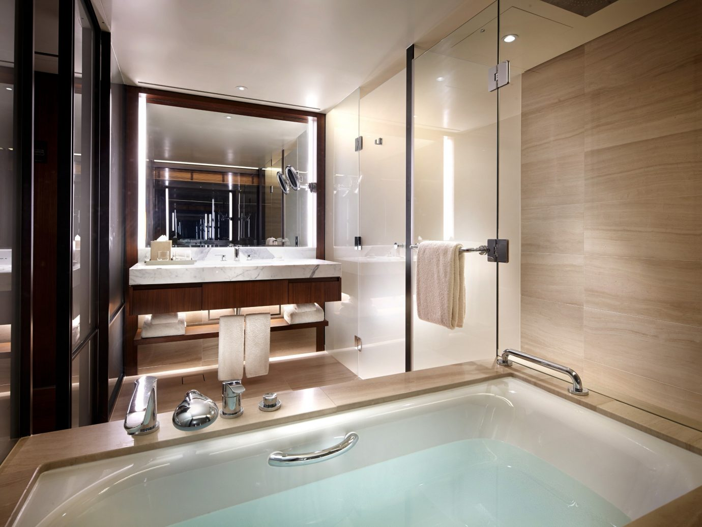 Hotels Luxury Travel indoor bathroom wall sink mirror vessel room interior design toilet counter plumbing fixture interior designer tub bathtub Bath