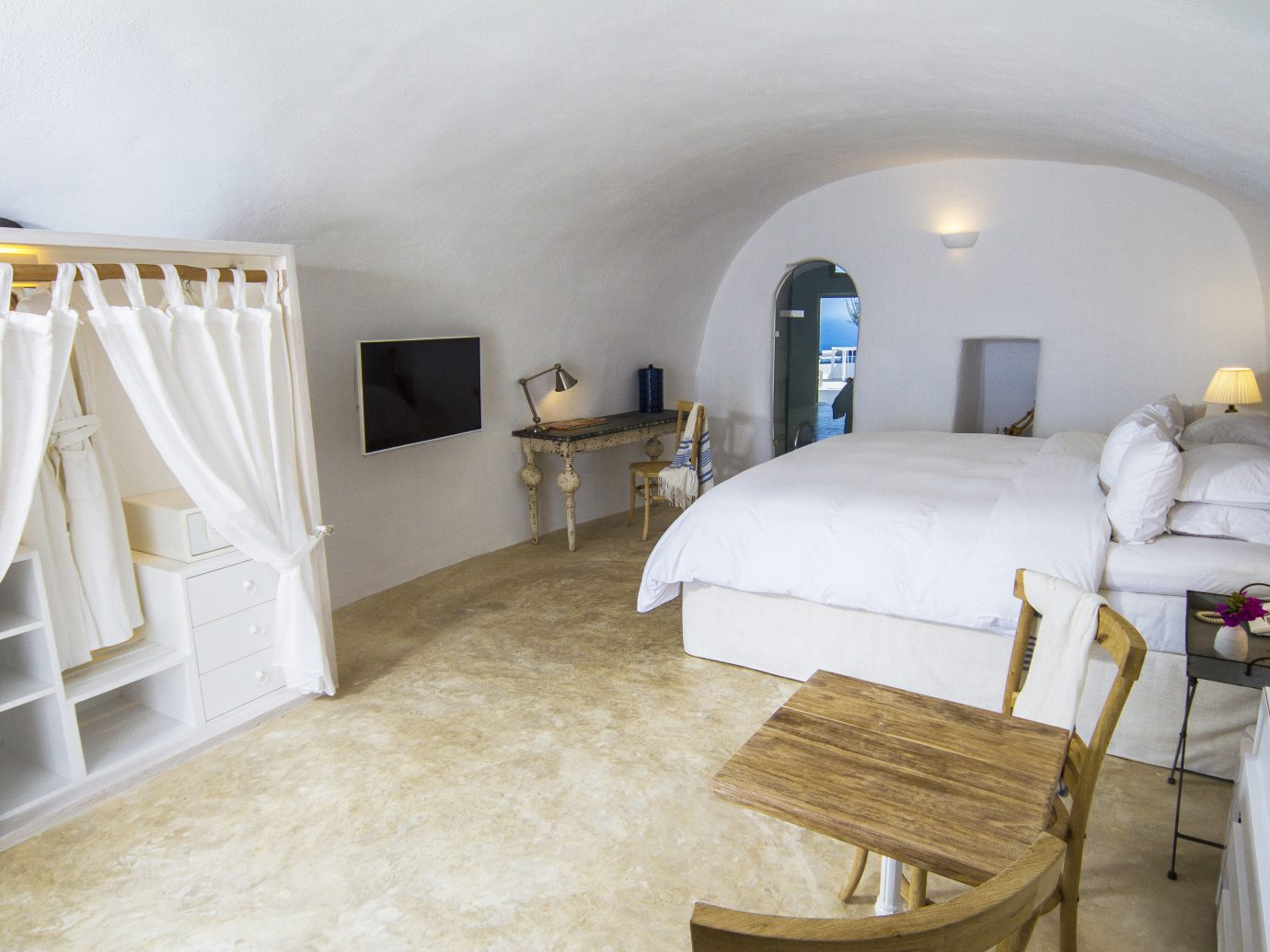 Greece Hotels Santorini indoor wall floor room property Bedroom Suite furniture bed real estate home interior design estate bed frame ceiling product