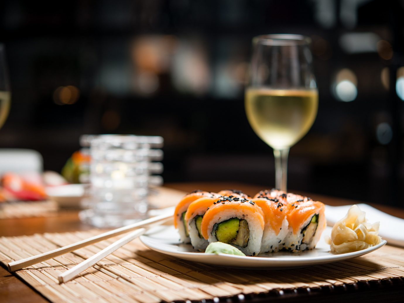 Hotels table food plate wine indoor glass dish meal restaurant cuisine Drink sushi asian food sense brunch close