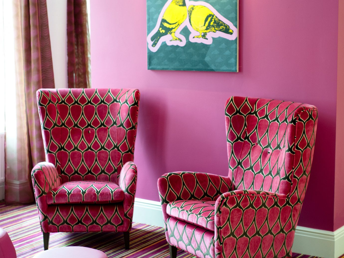 Budget color pink room indoor living room red interior design furniture bed sheet lighting Design colorful chair seat textile sofa colored decorated