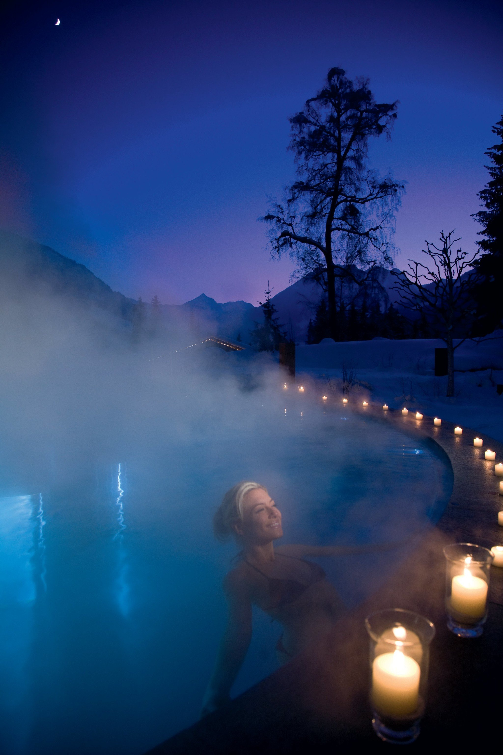 Health + Wellness Spa Retreats Trip Ideas outdoor reflection blue atmospheric phenomenon atmosphere night light moonlight sunlight cloud morning darkness evening dawn dusk computer wallpaper Lake sunrise dark
