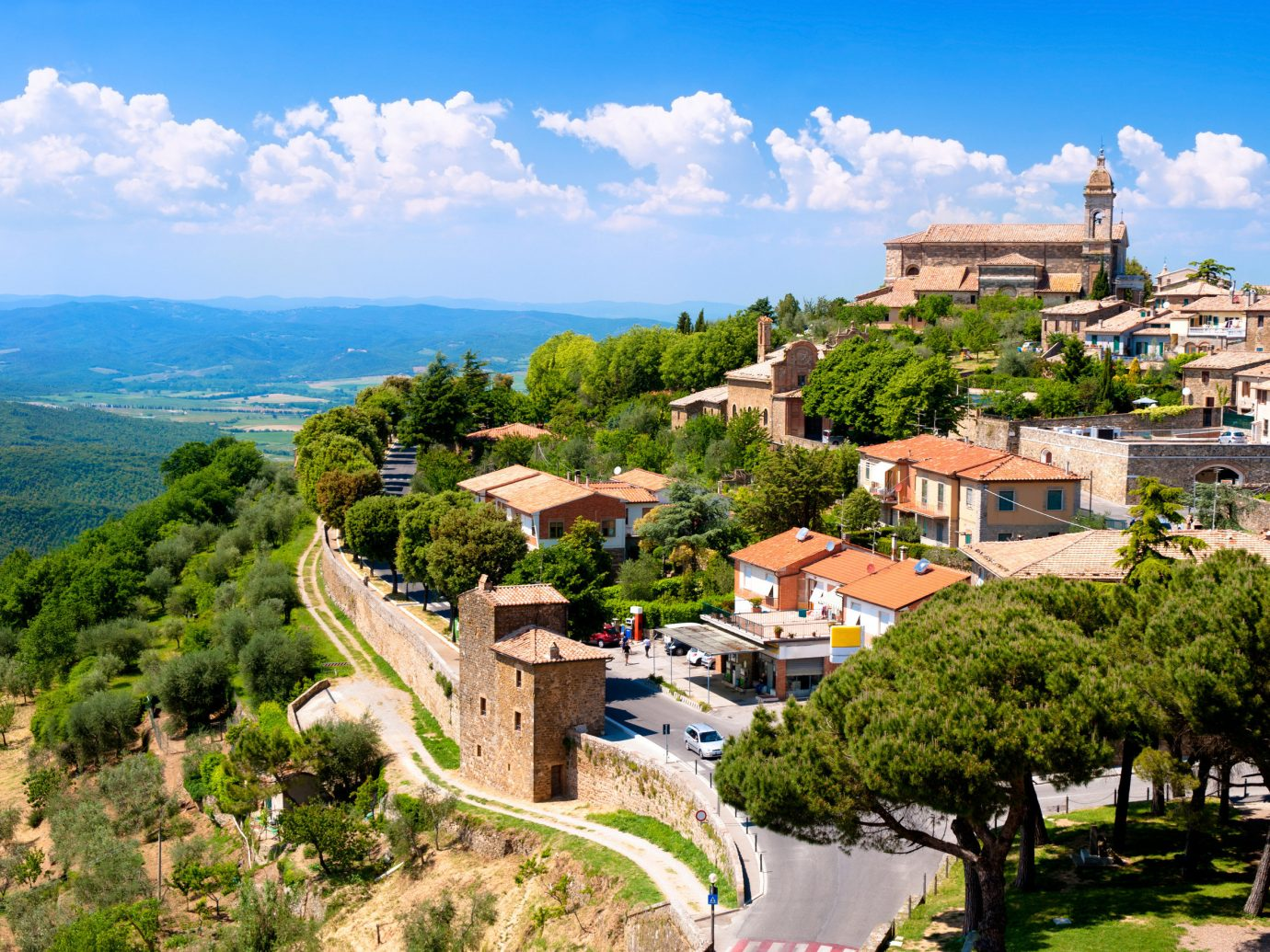 Italy Trip Ideas sky mountain village landmark tree City Village bird's eye view mountain mount scenery real estate tourism estate hill station plant tourist attraction hill landscape mountain range historic site