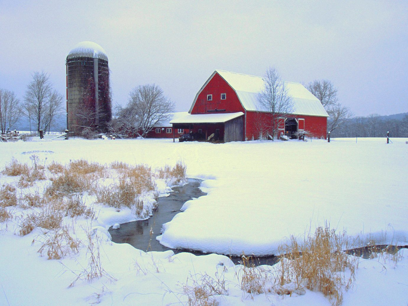 Weekend Getaways outdoor sky snow tree Winter water house freezing reflection daytime ice building barn