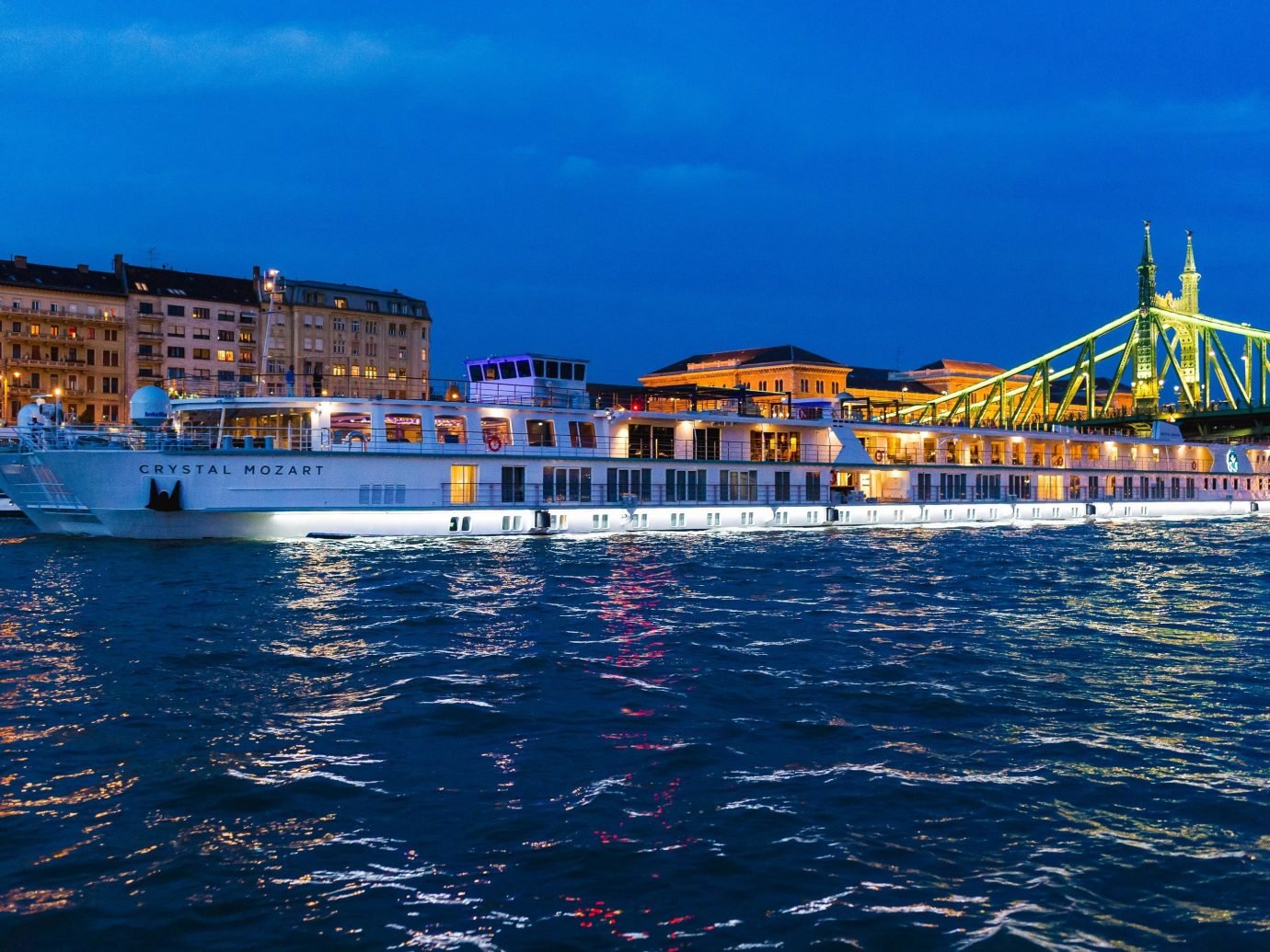 Cruise Travel crystal mozart Luxury Travel Trip Ideas water outdoor scene sky waterway Sea water transportation Boat Harbor passenger ship Ocean watercraft port ferry ship channel tourism motor ship horizon evening City marina day