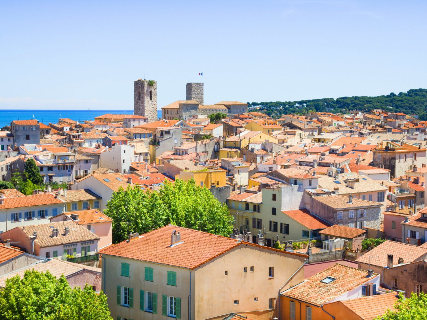 Antibes Southern France Aerial view of village