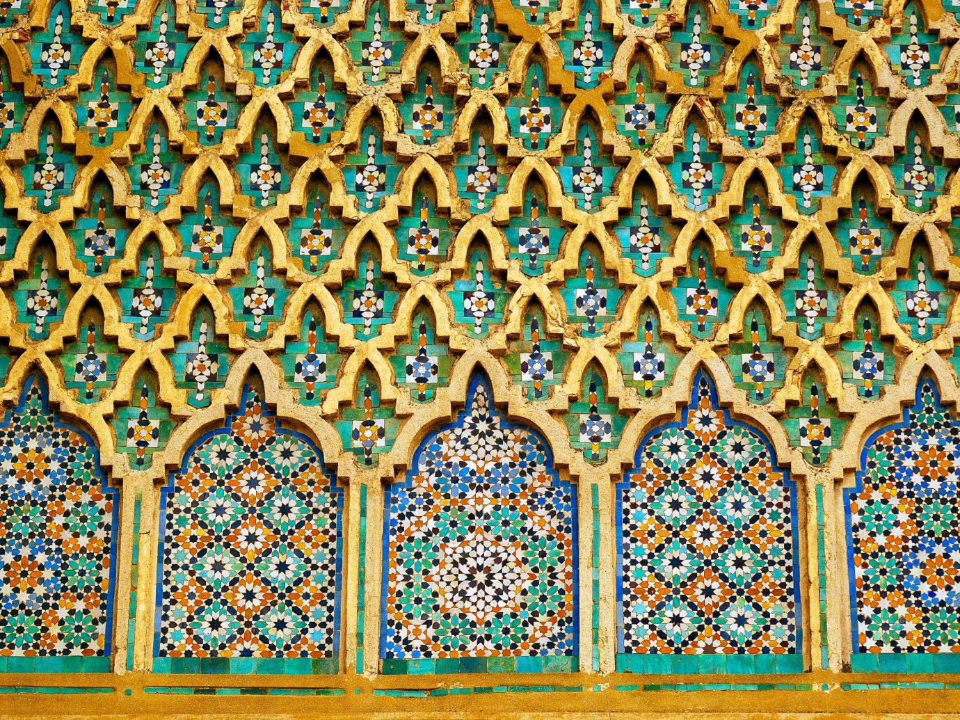 Arts + Culture Marrakech Morocco Style + Design pattern Design mosaic symmetry window art blue colorful