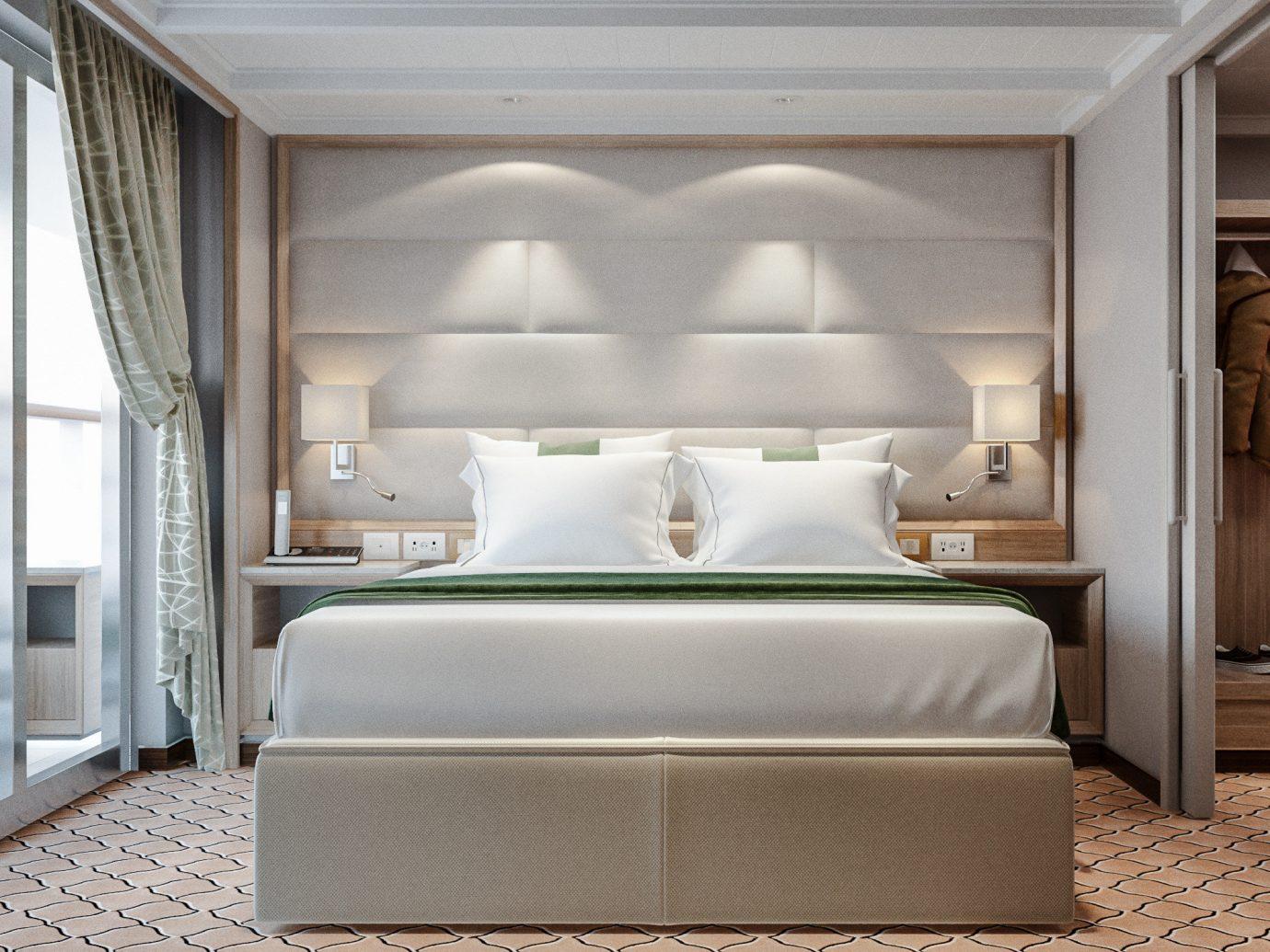 Cruise Travel Luxury Travel Trip Ideas indoor floor bed room interior design Suite furniture ceiling Bedroom window interior designer