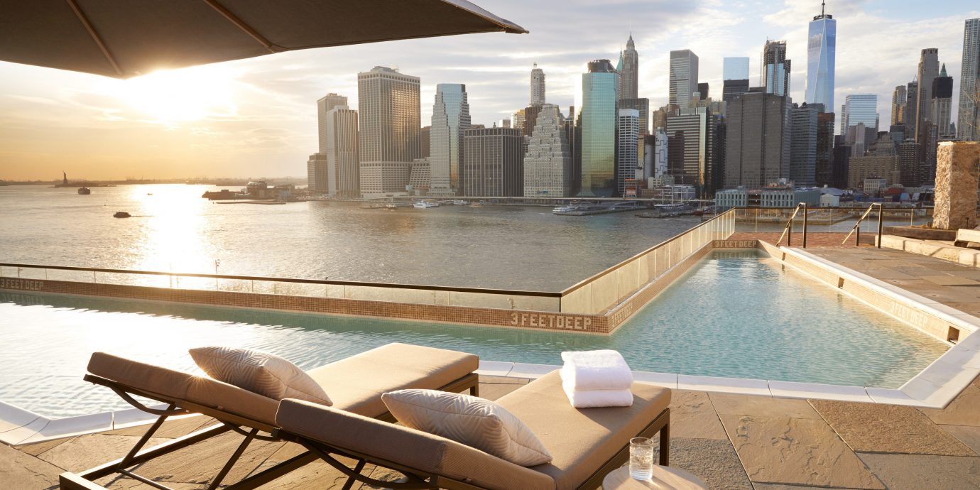 Manhattan Skyline View at 1 Rooftop, 1 Hotel Brooklyn Bridge