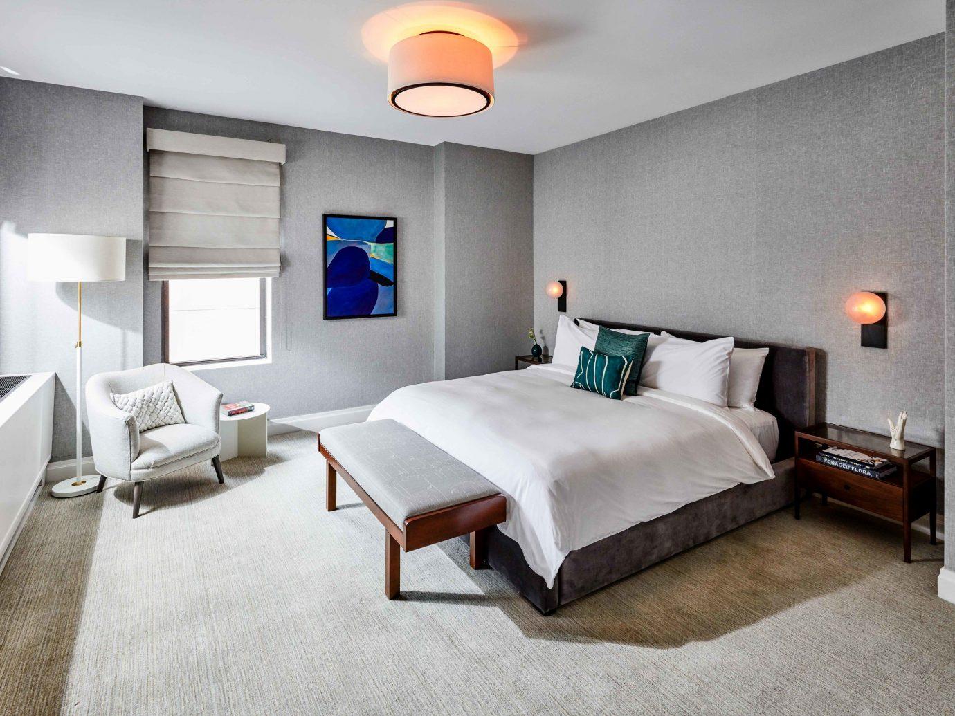 indoor floor wall bed room Bedroom ceiling interior design Suite Architecture bed frame real estate hotel home estate interior designer furniture