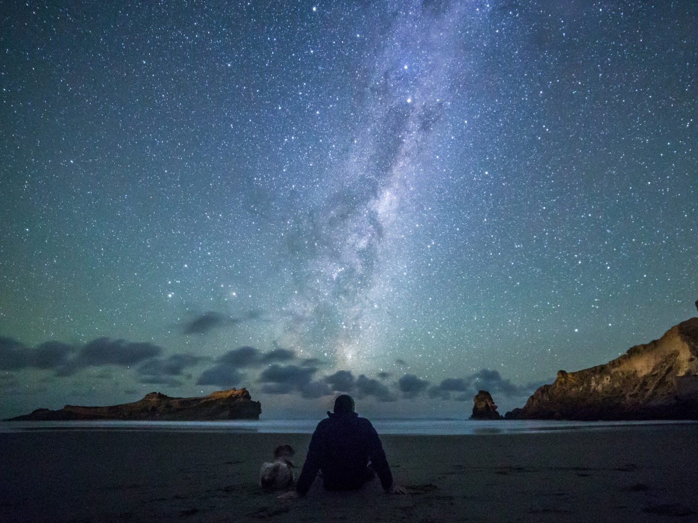 Beach calm isolation majestic Nature night Night Sky northern lights Ocean Oceania Outdoors people remote Rocks Scenic views serene silhouette star gazing stars Travel Tips Trip Ideas water outdoor sky galaxy astronomical object star astronomy Sea moonlight milky way