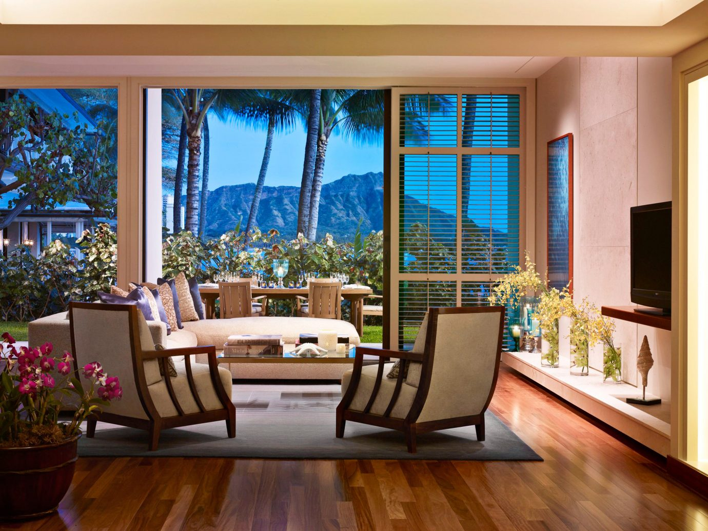 Boutique Hotels Hawaii Honolulu Hotels Living Luxury Patio Resort Scenic views indoor floor window wall room living room property ceiling home estate dining room hardwood furniture interior design real estate condominium Suite wood flooring decorated wood