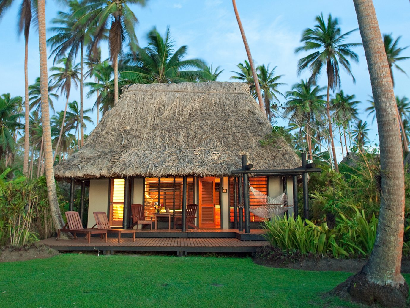 Exterior of a hut at Jean-Michel Cousteau Resort, Fiji