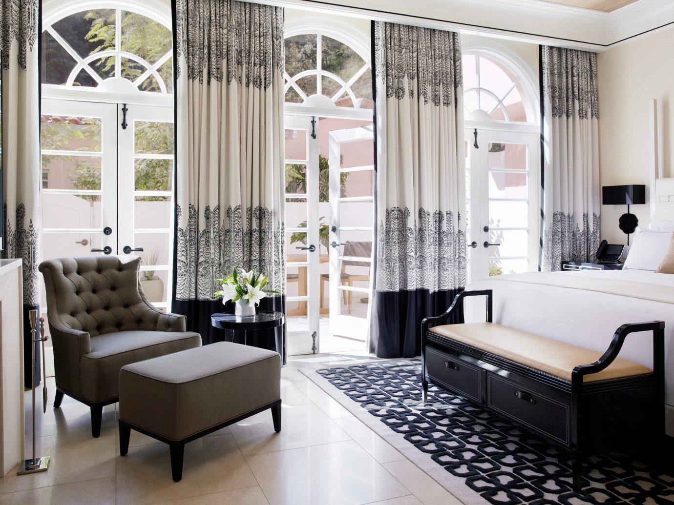 Bedroom Hotels Luxury Modern floor indoor window room property Living living room interior design home estate furniture Design real estate window covering Suite condominium curtain