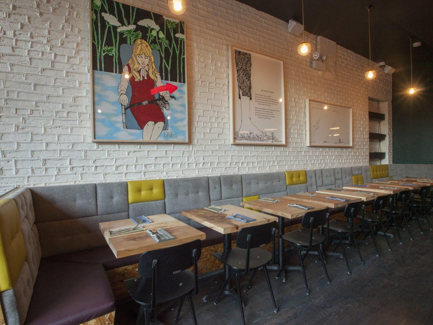 Food + Drink room restaurant interior design meal Bar several