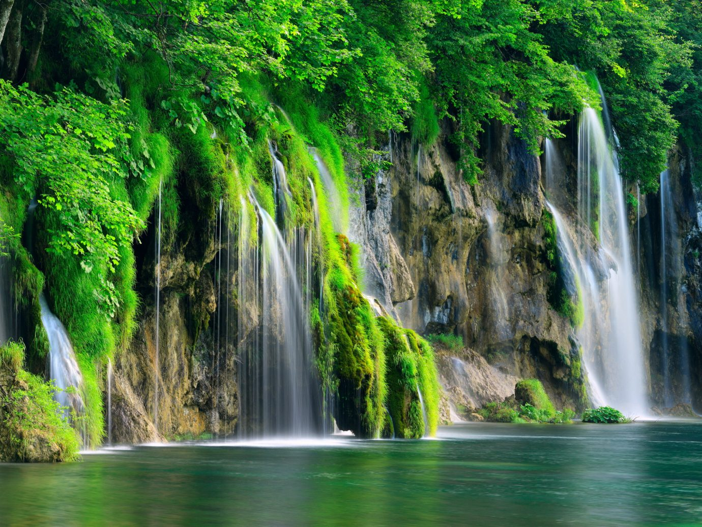 Offbeat Nature tree Waterfall outdoor water body of water green vegetation water feature watercourse Forest rainforest River wasserfall Jungle stream surrounded wooded