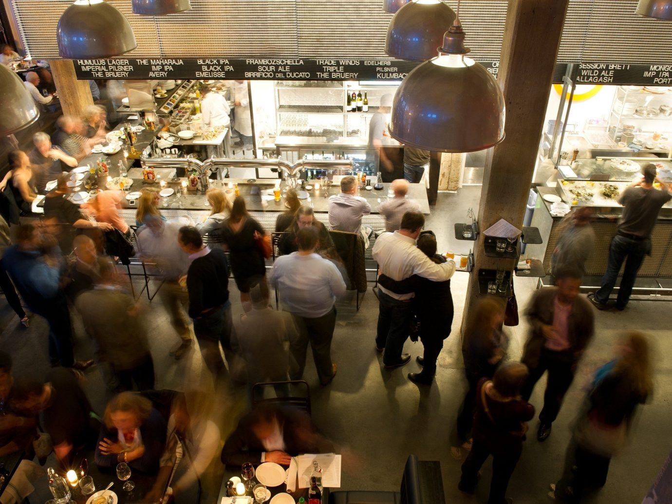 Busy dining room at Row 34 in Boston.