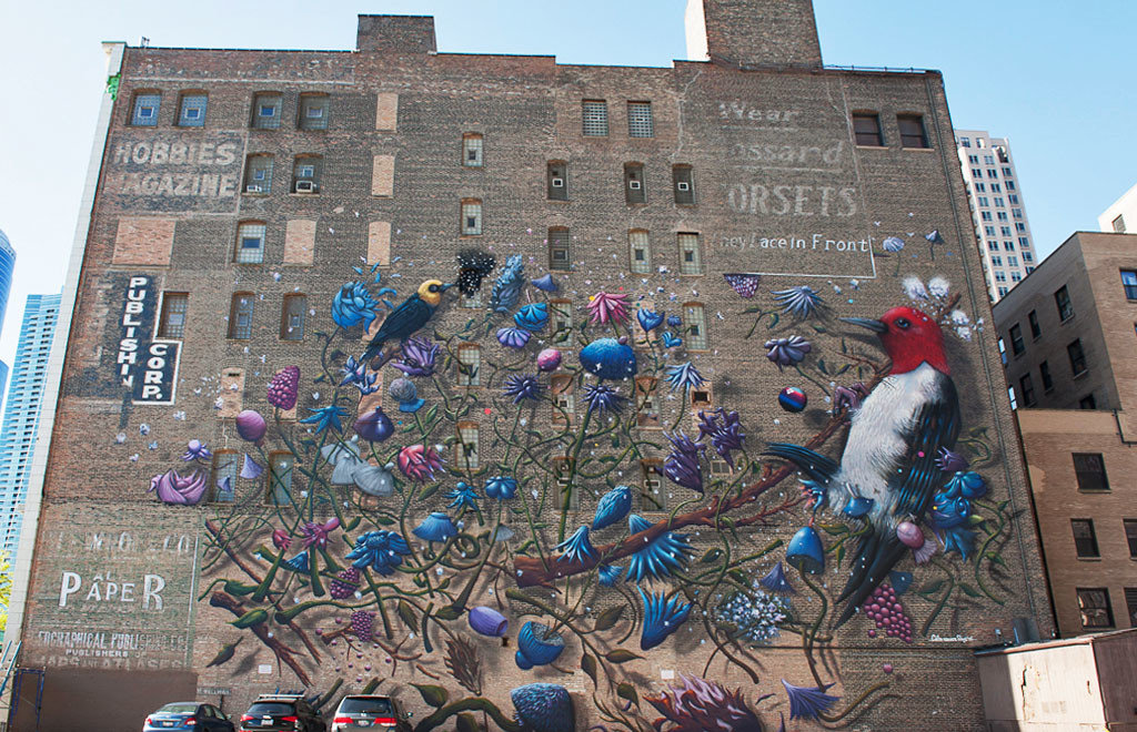 art Arts + Culture birds Buildings City city views colorful graffiti skyscrapers street art urban sky outdoor urban area mural