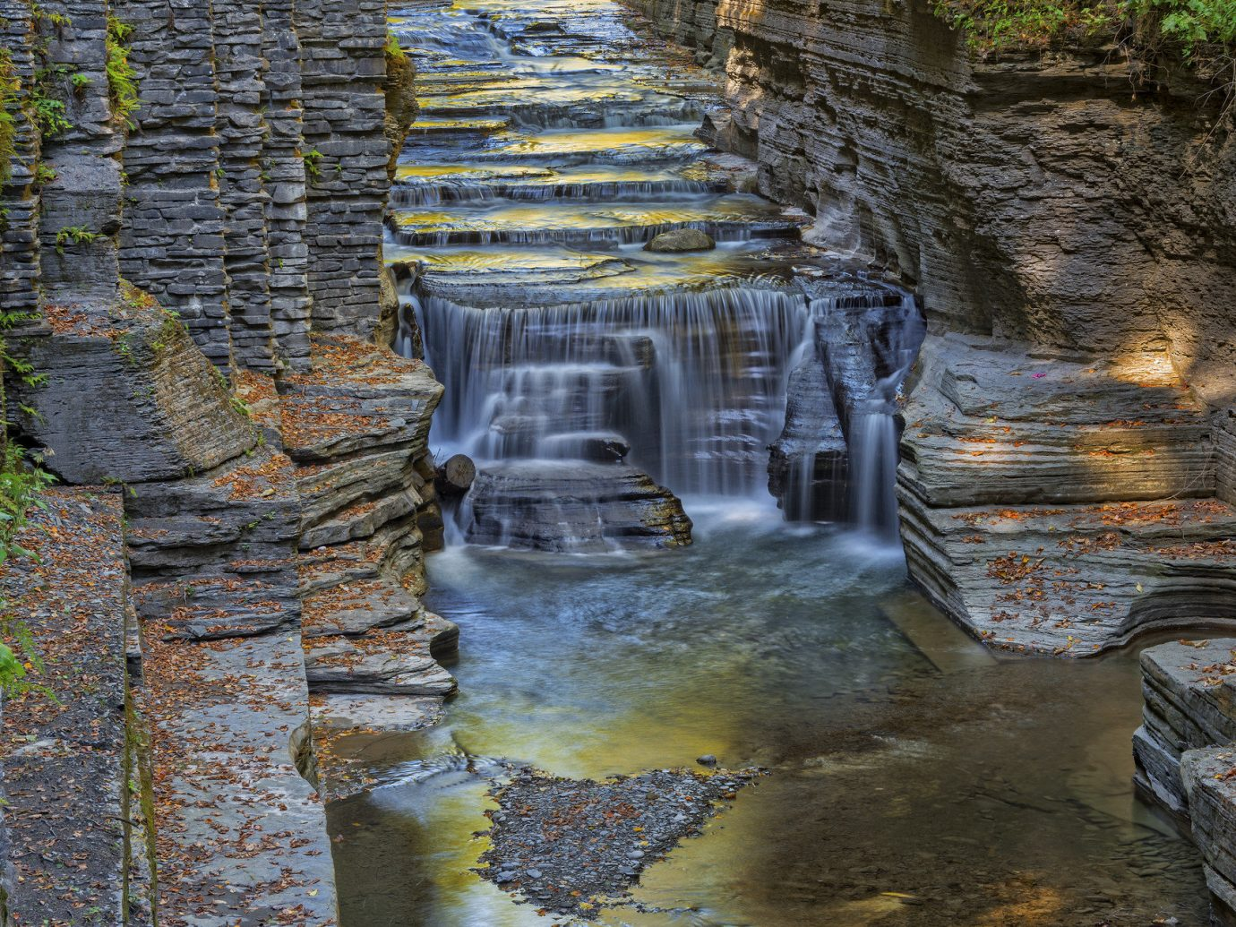 Trip Ideas Nature Waterfall water outdoor rock wall Ruins reflection water feature autumn ancient history terrain cliff stream geology stone
