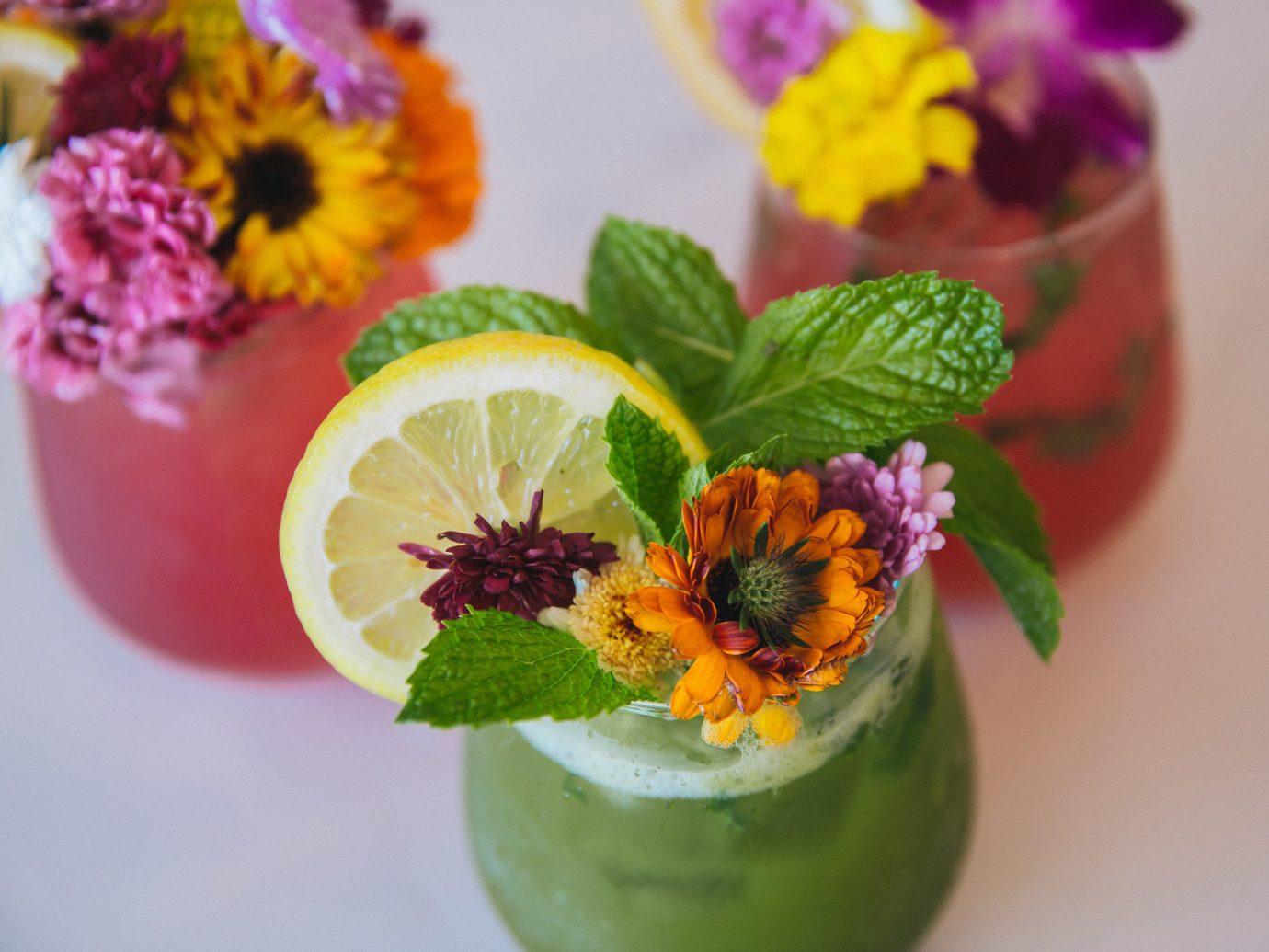 Jetsetter Guides flower plant Drink garnish bouquet lemonade floristry floral design flower arranging vegetarian food fruit colored several