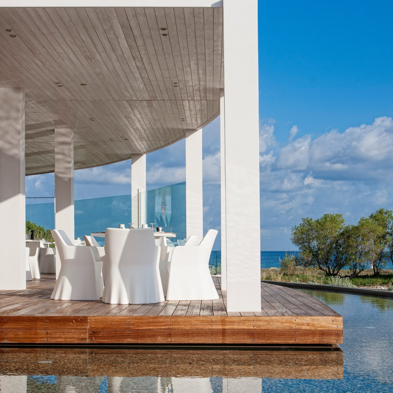 Architecture Bar Cultural Deck Dining Drink Eat Hip Honeymoon Scenic views Waterfront blue landmark house tower