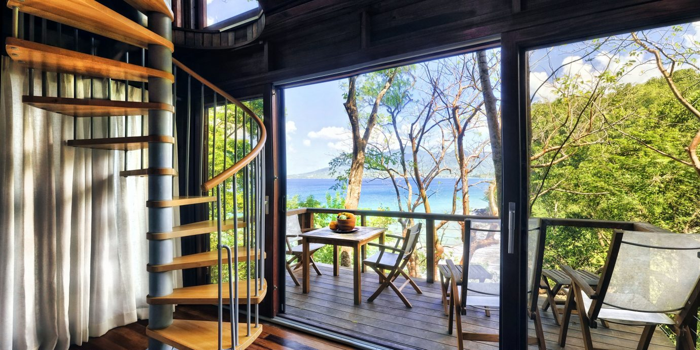 Architecture Beachfront Eco Elegant Island Jungle Resort Scenic views Treehouse Villa Waterfront property building house home porch mansion cottage