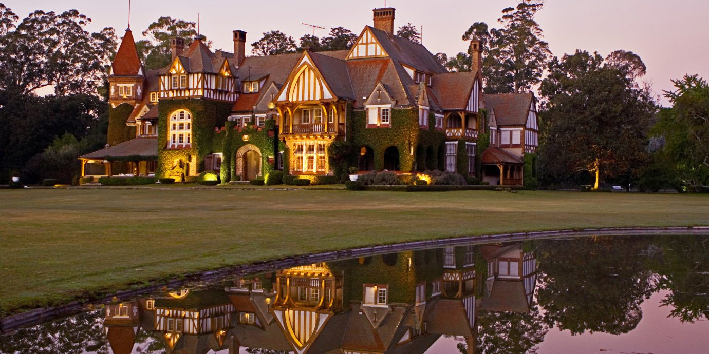 Architecture Buildings Country Exterior Scenic views Waterfront sky tree house building night evening morning dusk Sunset château autumn cityscape waterway park railroad