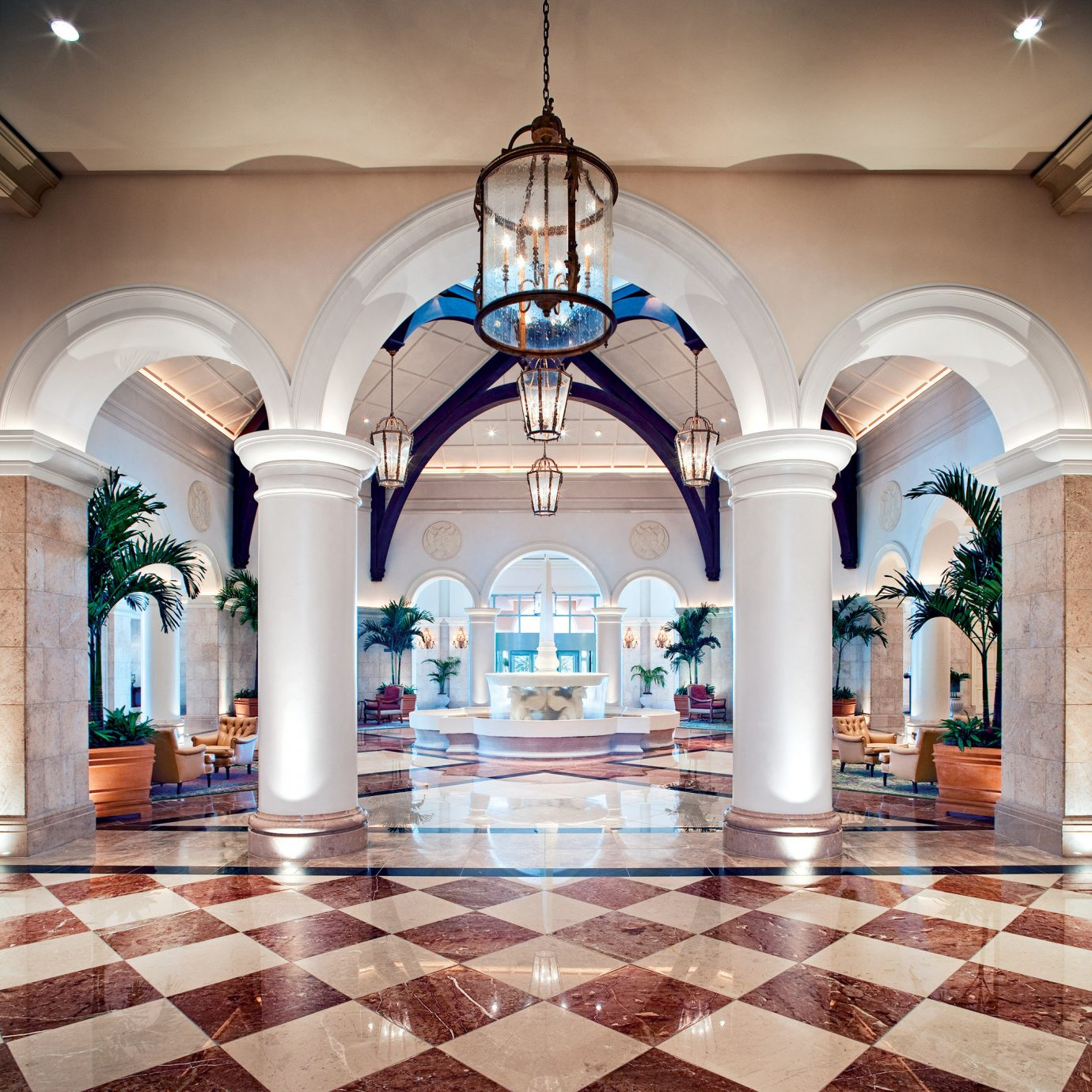 Lobby Architecture mansion arch column palace ballroom tile tiled colonnade