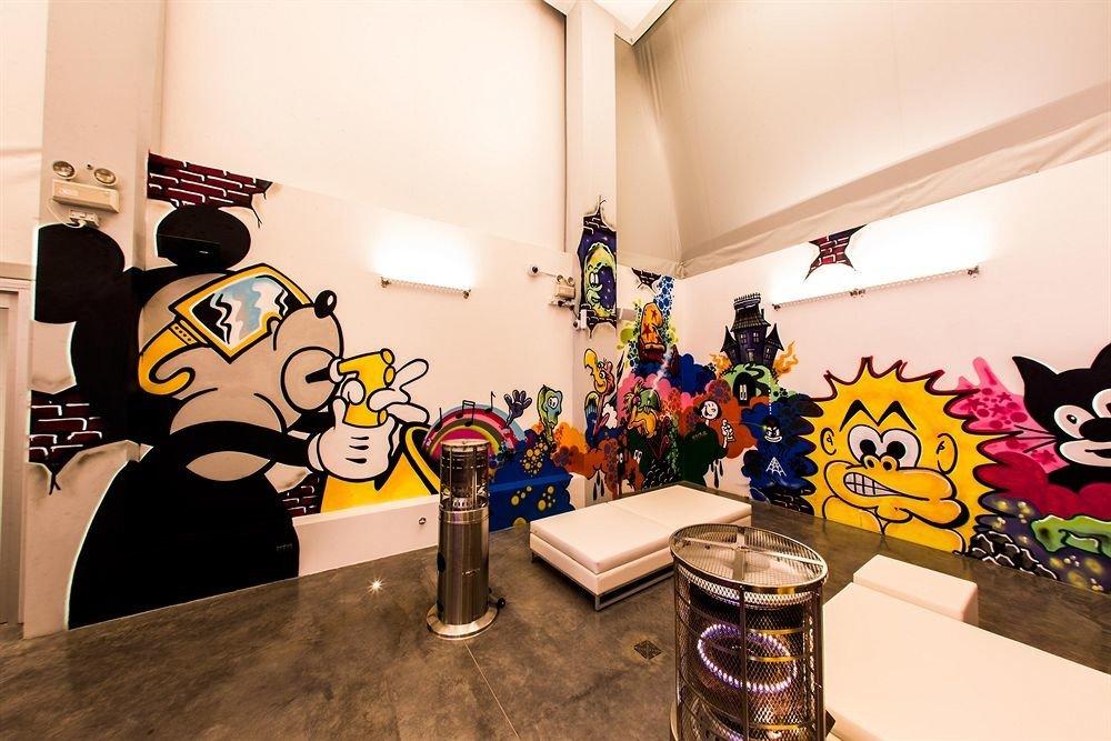 art art exhibition cluttered